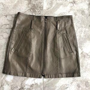LF Carmar tan coated jean zipper front mini skirt